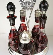 Ruby Cut To Clear Glass Bottles Castor Set Rogers Silverplate Antique Pre 1930