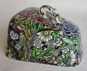British Anchor Pottery Peacock Black Floral Chintz Cheese Dish Lid Only