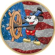 Niue 2017 2 Steamboat Willie Us Flag Diamond Dust 1 Oz 999 Silver Coin