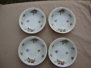 4 Pcs Meito Ivory China Made In Occupied Japan 5.75 Berry Bowls Garden Roses