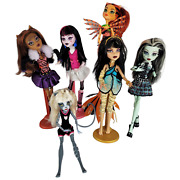 Monster Doll High Lot 6 Dolls Clawdeen Frankie Cleo Draculaura Toralei Meowlody