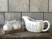 Rae Dunn Pumpkin Shaped Salt And Pepper Shakers And Gravy Boat 2 Pieces New