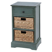 Zimlay Farmhouse Wooden Side Cabinet With Wicker Basket Drawers 96180