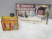 Vintage Towle's Log Cabin Syrup Advertising Tin Coin Bank Log Cabin Wood Sign