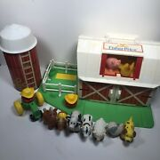 Vintage 1990 Fisher-price Family Little People Farm Barn Figures Animals Silo