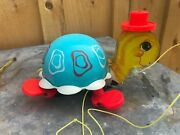 Vintage Fisher Price 1962 Tip Toe Turtle Pull Along Toy 773 Bell Walking Toy Usa