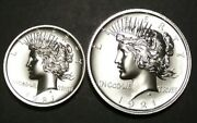 1921 Hr Peace Dollar Tribute 1oz And 2oz Silver Rounds - 3oz Silver Total