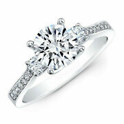 Round 1.50 Ct Diamond Anniversary Ring Solid 14k White Gold Rings Size 6 7 8 9