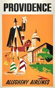 Original Vintage Poster Providence Allegheny Airlines Airline Travel Rare Linen