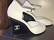 White Patent Leather Wedge Open Shoes Pumps 21a
