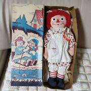 Raggedy Ann And Andy Doll Girl Red Hair Child Flower Knickerbocker Box Vintage Ny