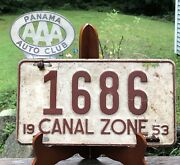 Rare Vintage 1953 Panama Canal Zone License Plate Number 1686 And Aaa Topper