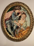 Antique Large Colourful Embroidered Needlework Art In Beautiful Frame