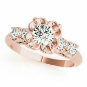 Solid 14k Rose Gold 1.40 Ct Round Cut Diamond Engagement Band Set Size 5 6 7 8 9
