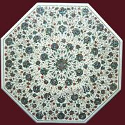 Marble Coffee Table Top Inlay Island Table With Abalone Shell Stone Art 30 Inch