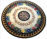 Round Marble Center Table Top Hand Inlay Work Stone Dining Table Top 36 Inches