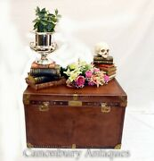 Vintage Leather Luggage Case - Steamer Trunk Coffee Table Box