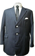 Percy Crowe City Of London Vtg Bespoke Navy Pin Spot Cuffed Jacket Uk/us 46and039s