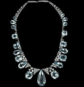 Rare And Gorgeous Clear Pear And Cushion Cut 214.30ct Aquamarine And Cz Necklace