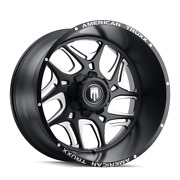 24 Inch 6x139.7 Wheels 4 Rims Black Milled -76mm American Truxx Sweep At1900