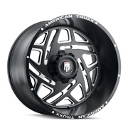 24 Inch 8x165.1 Wheels 4 Rims Black Milled -76mm American Truxx Cosmos At1904