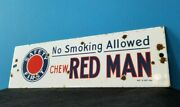 Vintage Chew Red Man Porcelain Tobacco Advertising No Smoking Gas Service Sign