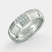 Real 0.18 Ct Diamond Men's Engagement Proposal Ring Solid 14k White Gold Size 9