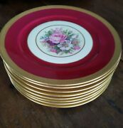 Rosenthal Ivory Collection 8 Dinner 9 1/2 Dishes Rose Red Gold And Flowers