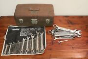 Vtg Union Steel Chest Usa Utility Green Tool Box With Triumph Wrench Set +more