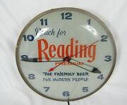 Vintage Reading Premium Beer Pam Illuminated Clock Working The Friendly Beer