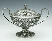 S Kirk And Son Repousse 11oz Sugar Bowl With Handles And Lid