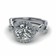 1.80 Ct Real Round Natural Diamond 14k White Gold Christmas Ring Size 5 6 7 8 9