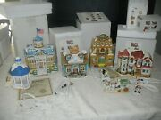 Christmas Colonial Village By Lefton Lot Of 4 Buildings And Gazebo And Wagon
