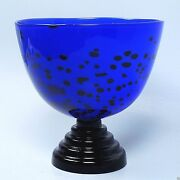 Ann Wahlstrom Kosta Boda Limited Ed. Memphis Style Footed Art Glass Bowl - Gl