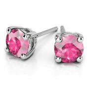 Natural 4.00 Ct Pink Sapphire Gemstone Stud 14k White Gold Earrings For Women
