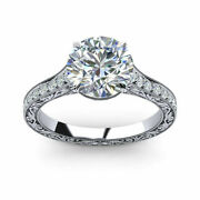 Real 0.85 Ct Round Diamond Women Wedding Ring Solid 14k White Gold Rings Size 6