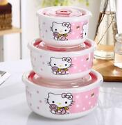 Cute 3pcs Hello Kitty Ceramic Food Rice Soup Bowl Storage Containers Set W/lids