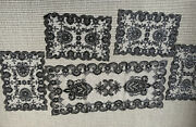 Black Handmade Oriental Beaded Table Runner Set With Placemats
