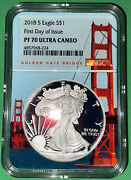 2018 S Silver Eagle Pf 70 Ultra Cameo First Day Of Issue Golden Gate Bridge Core