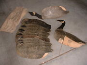 Vintage Dozen Goose Decoys 10 Johnsons, 2 Carry-lite, 12 Stakes And Bag, Hunting