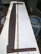 """Antique Large 66"""" 2 Man Crosscut Logging Saw With 14.5"""" Handles"""