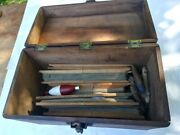 Antique Wooden Fishing Tackle Box With Contents