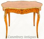 French Side Table Desk Shaped Inlay Circa 1870