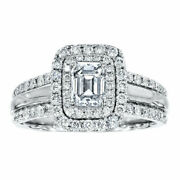 1.50 Ct Natural Diamond Wedding Ring For Her Solid 14k White Gold Size 5 6 7 8