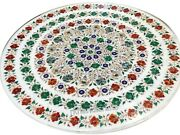 Multi Gemstones Inlaid Dining Table Top White Marble Patio Coffee Table 42 Inch