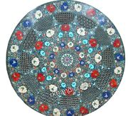 Multi Gemstones Inlaid Coffee Table Top Round Marble Kitchen Table Top 30 Inches