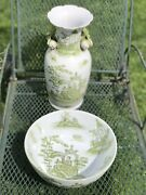 Chinese Antique Vase And Bowl - Fishermen By The Pond Scenes Hand Painted Rare