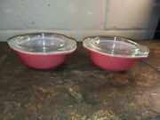 Vintage Pyrex 2 Pair Of Pink 080 - 8 Oz Round Small Casseroles W/lids Wow