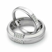 Unique 0.24 Ct Real Diamond Couple Band Solid 14k White Gold All Size Available