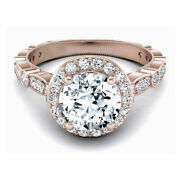 0.90 Ct Natural Diamond Women Engagement Rings Solid 14k Rose Gold Size 6 7 8